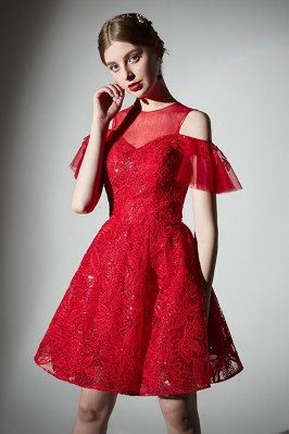 2018 Short Red Lace Cute...