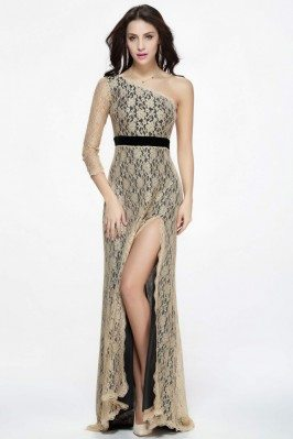 Lace One Shoulder Empire Waist Slit Formal Dress