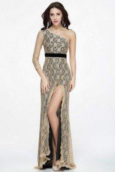 Lace One Shoulder Empire Waist Slit Formal Dress