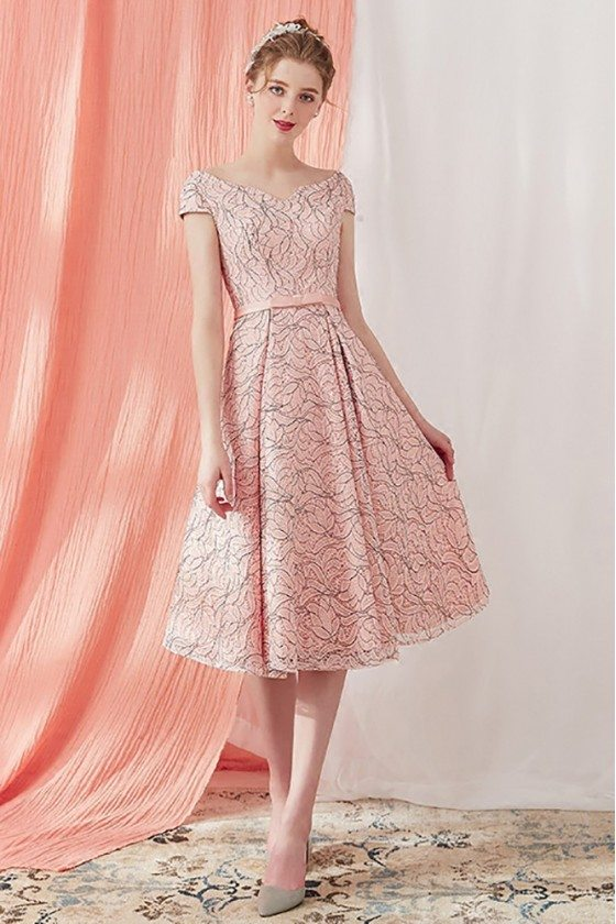 Vintage Lace Pink Party Dress Tea Length with Cap Sleeves