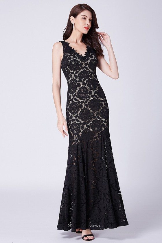 All Lace Long Black Tight Mermaid Evening Dress With V Neck