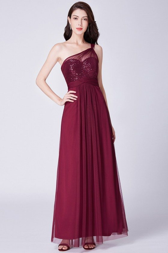 Burgundy One Shoulder Long Tulle Evening Dress With Sequins Bodice