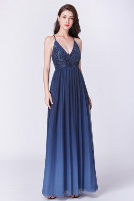 Ombre Navy Blue Sequined...