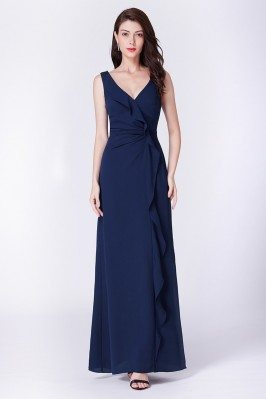 Long Ruffled Navy Blue...
