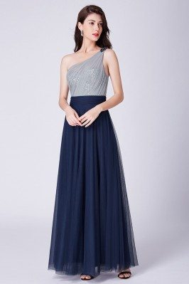 Navy Blue Long Tulle...