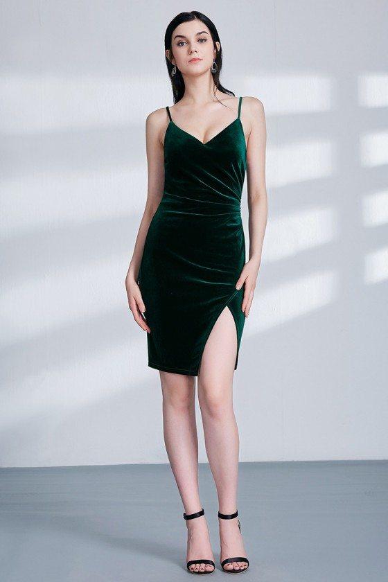 Dark Green Velvet Short Pleated Bridesmaid Dress With Split Front - EP04090DG