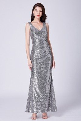 Silver Long Sparkly Sequin...