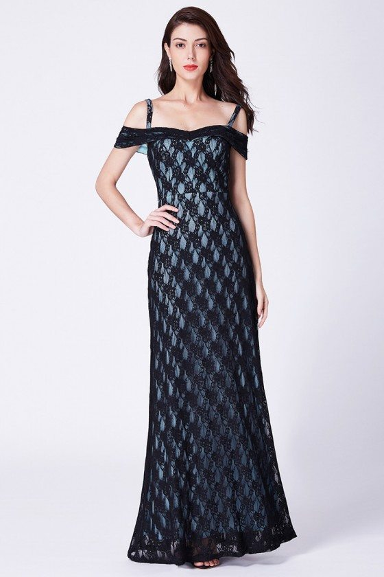 Off Shoulder Blueish Black Lace Long Evening Dress With Speghetti Straps