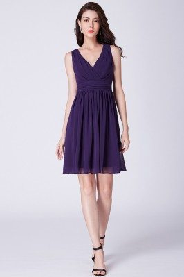 Short Purple Pleated...