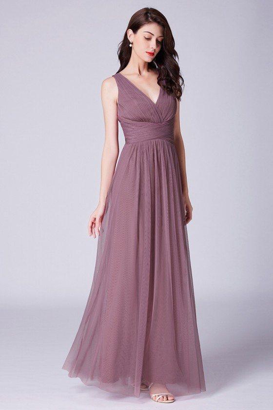 Pinkish Purple Pleated Tulle Bridesmaid Dress In Floor Length