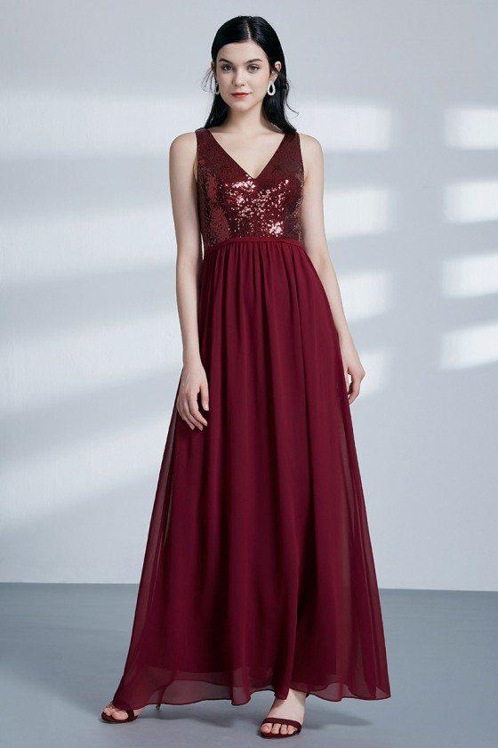 Glam Burgundy Sparkly Sequin Chiffon Evening Dress In Floor Length