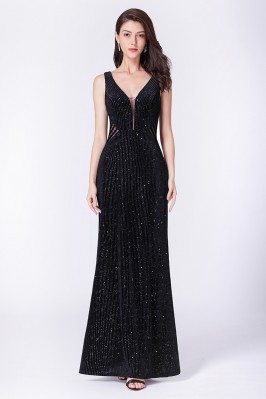 Sparkly Black Long Pleated...