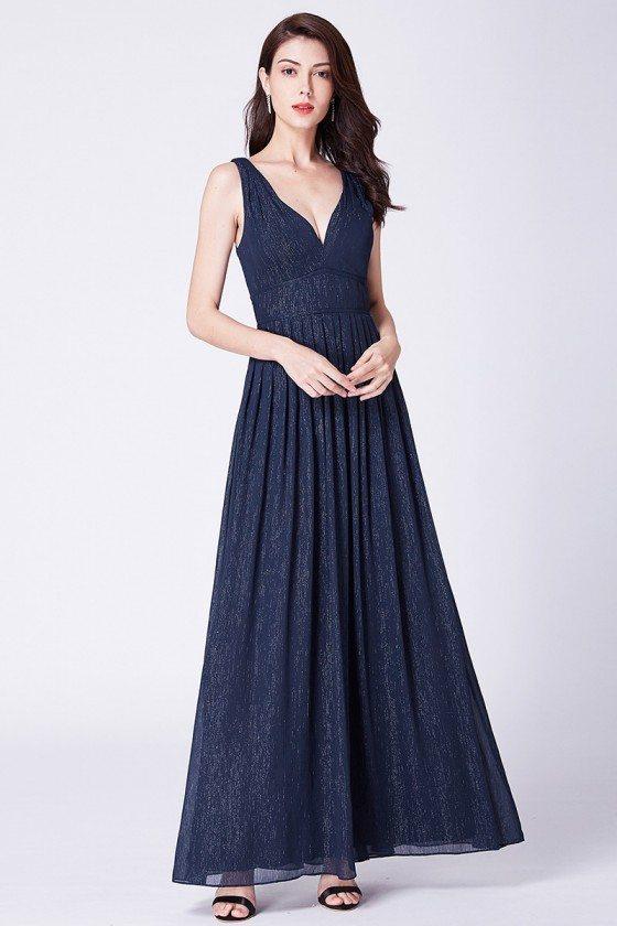 Navy Blue Long Sweetheart Chiffon Formal Prom Dress