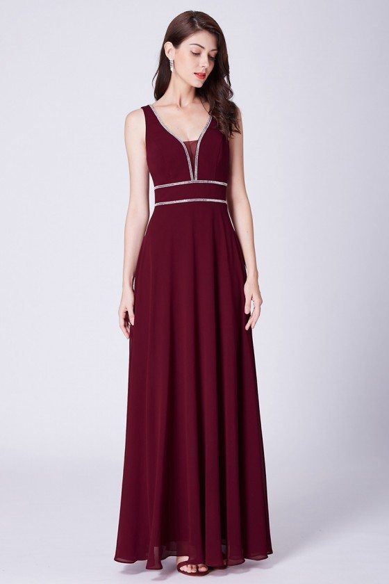 Burgundy Long Elegant Chiffon Evening Dress With Beading Neck