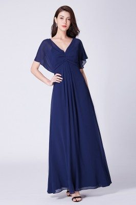 Navy Blue Simple Chiffon...