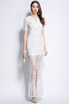 White Lace Slit Long Dress With Sleeves