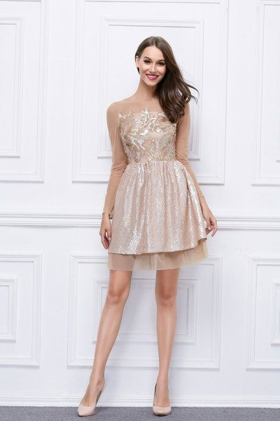Sequin Embroidery Short Party Dress With Long Sleeves