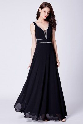 Simple Chiffon Black Long...