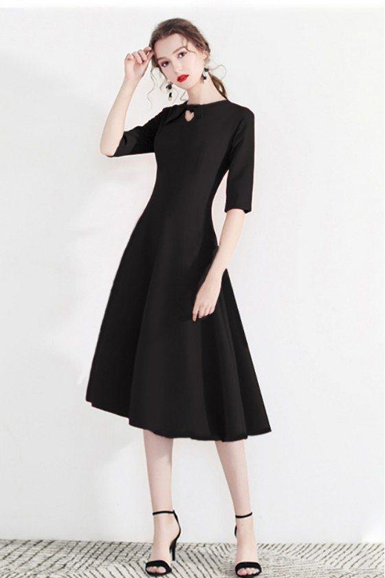 Fashion Black Semi Party Dress Half Sleeve With Retro Bow