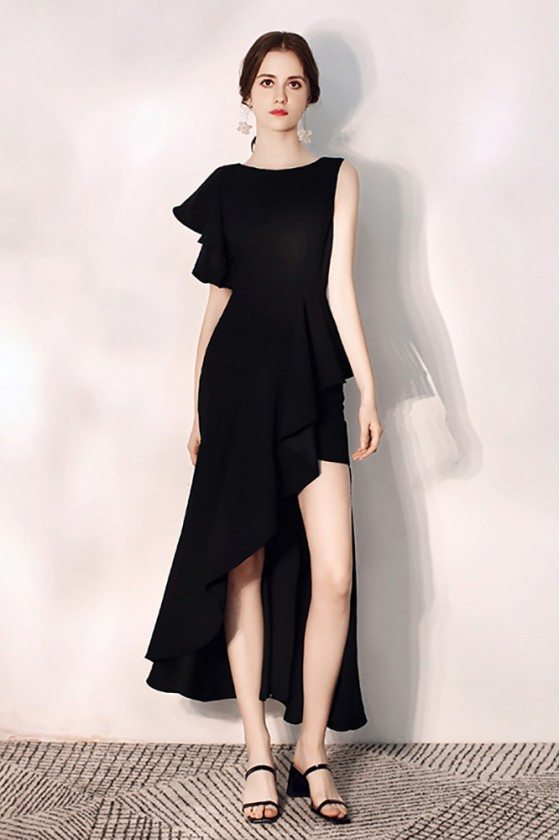 Mermaid Black Party Dress With Side Slit One Sleeve