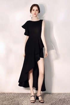 Mermaid Black Party Dress With Side Slit One Sleeve - HTX97071