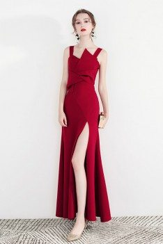 Formal Long Red Party Dress With Side Slit Straps - HTX97025