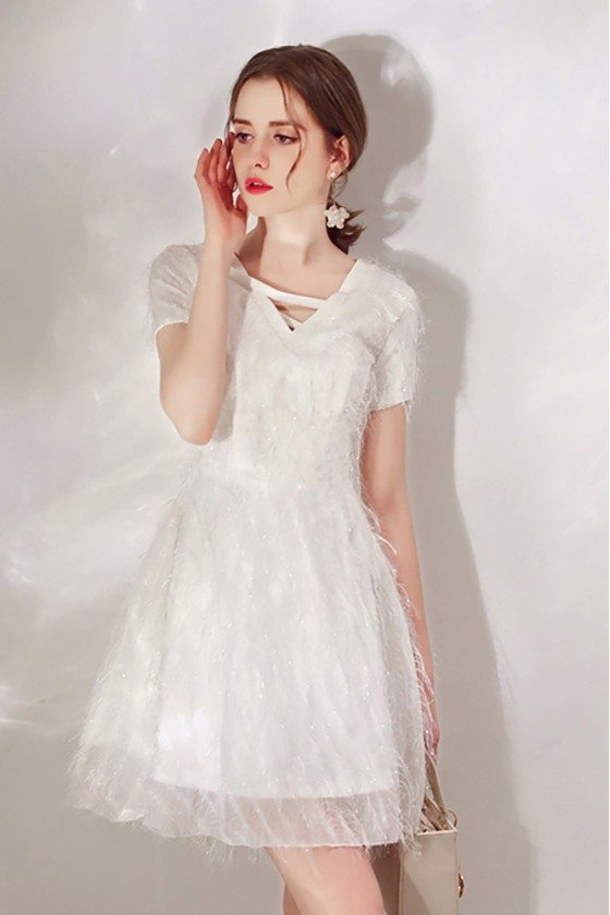 Cute White Lace Sequin Dress With Sleeves For Parties