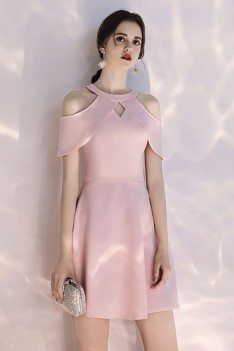 Short Halter Pretty Pink Party Dress With Cold Shoulder - HTX97086