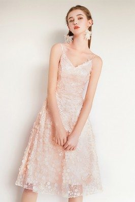 Nude Pink Beaded Lace Cute...