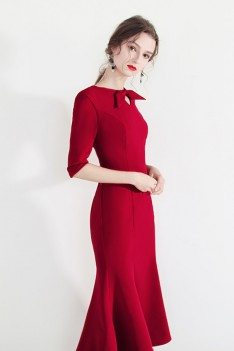 Vintage Bow Knot Bodycon Mermaid Party Dress With Half Sleeves - HTX97037