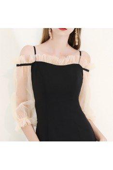 Elegant Black Party Dress Mermaid Knee Length With Off Shoulder - HTX97031
