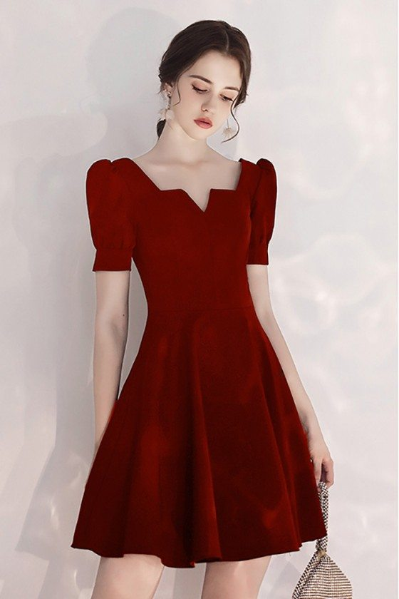 Burgundy Aline Party Dress Short With Bubble Sleeves - HTX97089