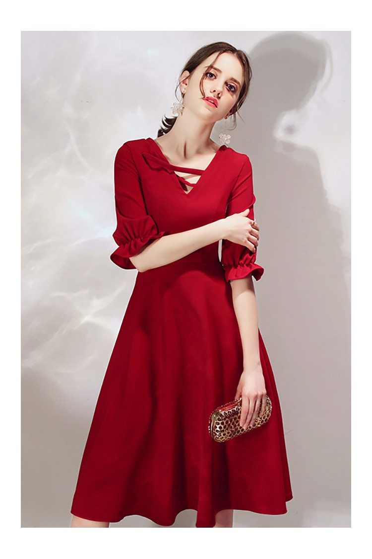 French Chic Burgundy Knee Length Party Dress With Bubble
