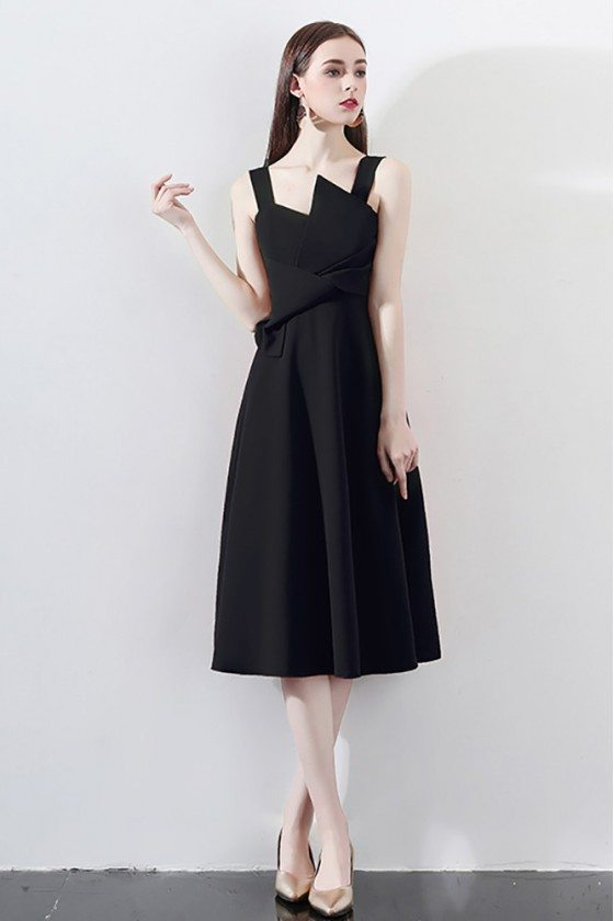 Chic Black Knee Length Party Dress Aline With Straps - HTX97002