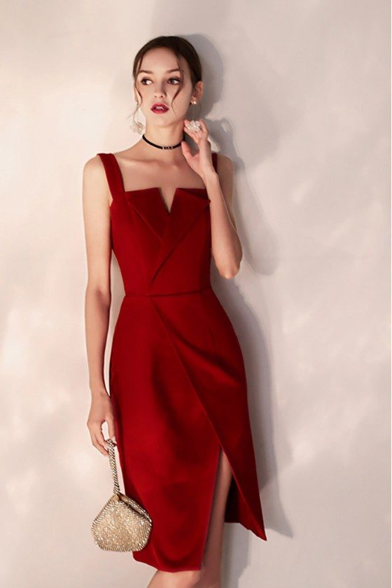 Slim Little Red Party Dress With Side Slit Straps - HTX97057
