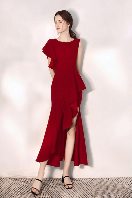 Mermaid Burgundy Party Dress With Side Slit One Sleeve - HTX97075