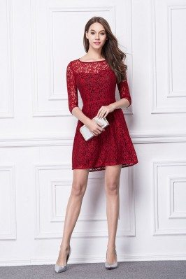 Half Sleeve Short Lace Dress