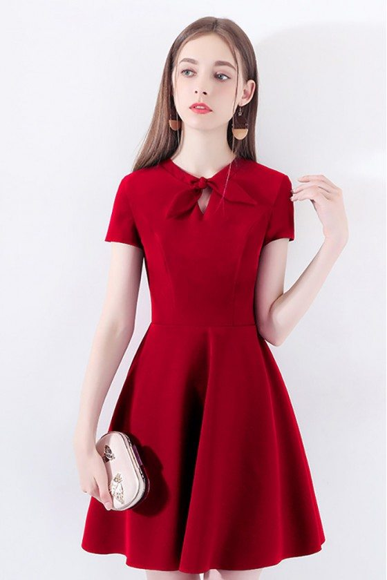 Burgundy Red Flare Short Party Dress With Short Sleeves Bow Knot - HTX97038