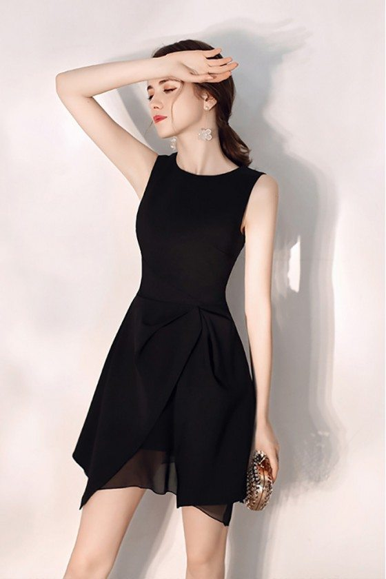 Little Black Slim Party Dress Round Neck With Tulle - HTX97070