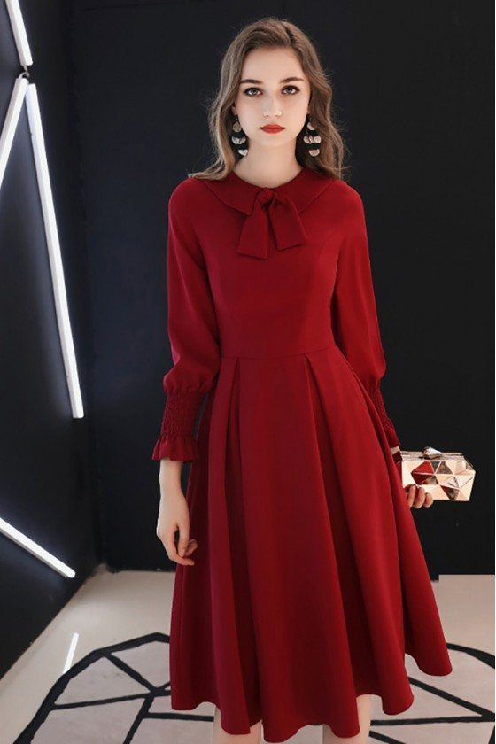 Retro Burgundy Knee Length Party Dress With Long Sleeves Bow Knot - HTX97033
