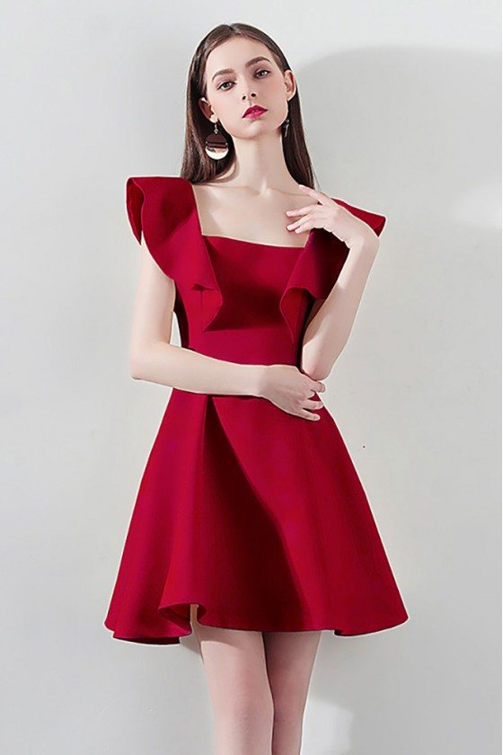 Special Red Square Neck Aline Party Dress For Semi Formal - HTX97014