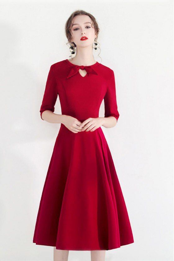 Fashion Red Semi Party Dress Half Sleeve With Retro Bow - HTX97023