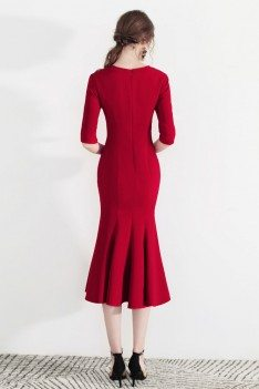 Bodycon Mermaid Chic Red Retro Party Dress With Half Sleeves - HTX97019