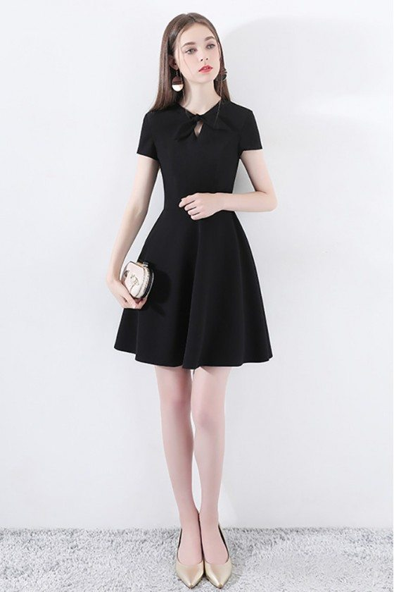 Chic Little Black Dress Short With Bow Knot Sleeves