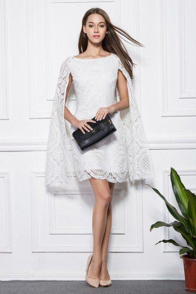 White Lace Cape Short Dress