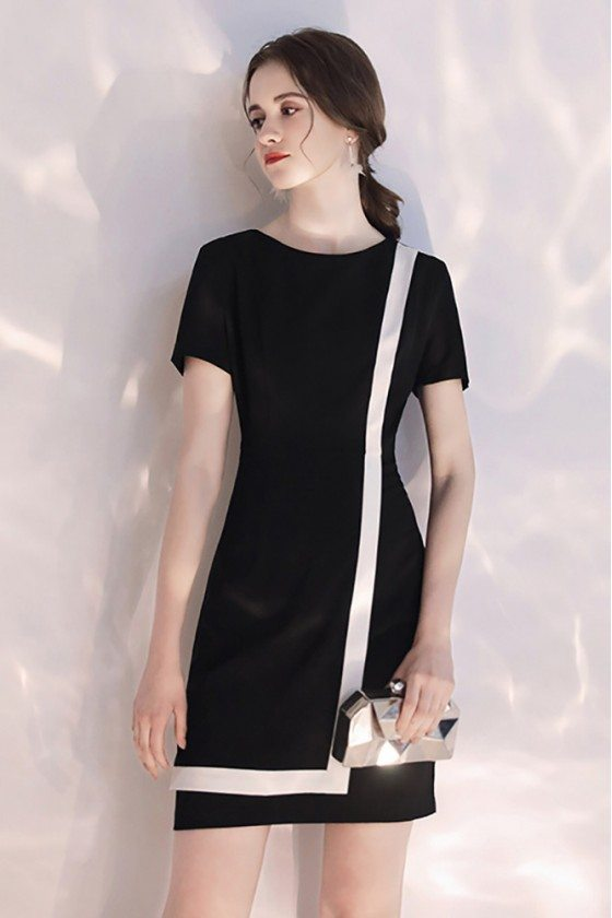 Black And White Color Blocks Short Party Dress With Sleeves