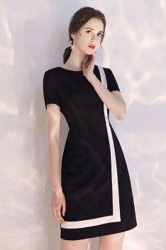 Black And White Color Blocks Short Party Dress With Sleeves - HTX97088