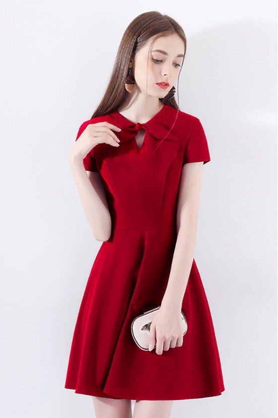 Chic Little Red Dress Short With Bow Knot Sleeves - HTX97015