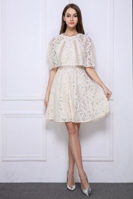 Lace Cape Short Party Dress