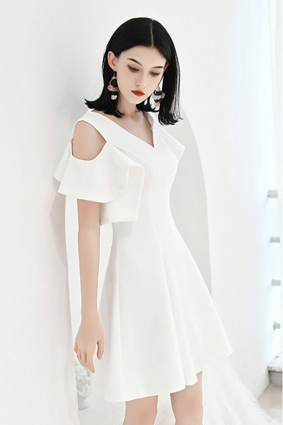 White Aline Party Dress Aline With Cold Shoulder